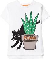 Fendi White Cat Branded Print Tee