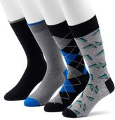 Croft & Barrow Men's 4-pack Rainbow Trout & Patterned Crew Socks