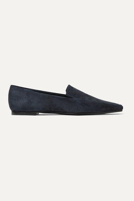 The Row Minimal Suede Loafers - Navy