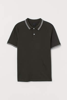 H&M Muscle Fit Pique Polo Shirt - Green