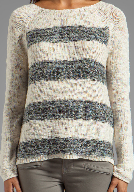 Sanctuary Knits Striped Marle Baseball Pullover