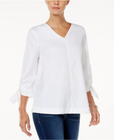 Charter Club Cotton Tie-Sleeve Top, Only at Macy's