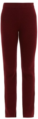 The Elder Statesman Rib-knitted Cashmere Flared Trousers - Womens - Burgundy