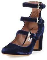Tabitha Simmons Ginger Velvet Three-Strap Pump, Blue