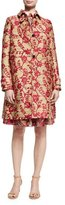 Valentino Floral Brocade Single-Breasted Coat, Pink/Gold