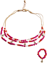 Carole Fuchsia & Goldtone Beaded Anklet & Stretch Toe Ring