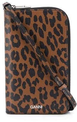 Ganni Leopard-Brown On-Strap Wallet
