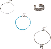Carole Silvertone & Blue Beaded Anklet & Toe Ring Set