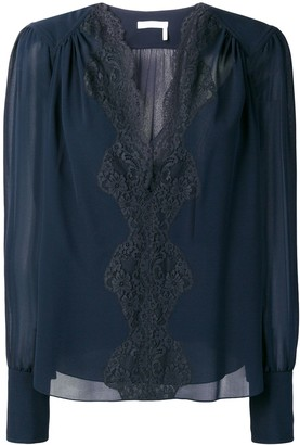 Chloé lace panel blouse