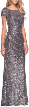 La Femme Short-Sleeve Long Sequin Dress