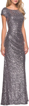 La Femme Short-Sleeve Long Sequin Dress