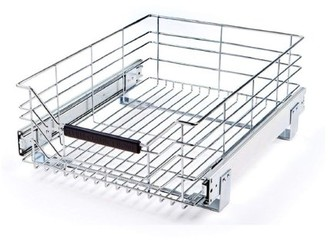"""Seville Classics Pull-Out Sliding Steel Wire Cabinet Drawer, 17.75""""D x 14""""W"""