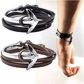 TobiNCraft Adjustable Unisex Maritime Silver Anchor - Cuff Bracelet - Alloy Leather Bangle