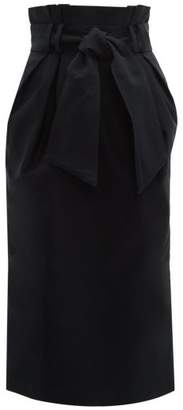 Gabriela Hearst Jordan Paperbag Waist Cotton Faille Midi Skirt - Womens - Navy