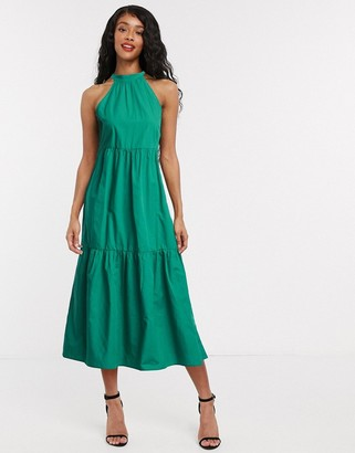 Vila tiered midi dress with halterneck in green