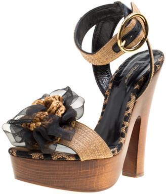Dolce & Gabbana Beige Leopard Raffia Platform Sandals Size 38