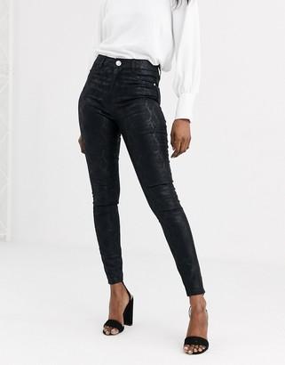 Lipsy snake print skinny jean in black
