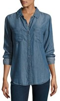 Rails Carter Button-Front Chambray Shirt, Dark Vintage