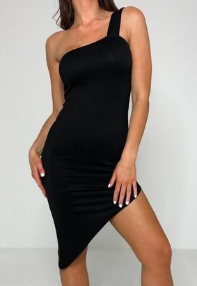 Missguided Black Asymmetric One Strap Mini Dress
