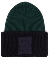 Moncler Logo-applique Wool Beanie Hat - Mens - Navy