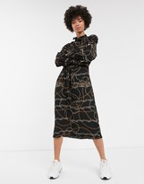 Monki chain print midi dress in black