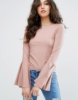 Missguided Ribbed Flared Sleeve Top