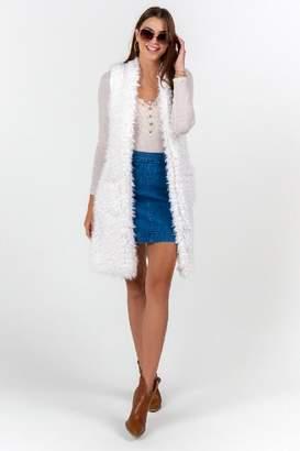 francesca's Ulyssa Long Faux Fur Vest - Ivory