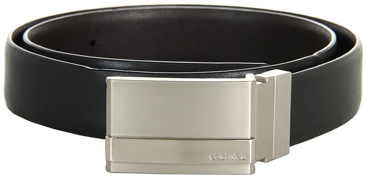 Calvin Klein 32mm Reversible Feather Edge Strap Shiny, Smooth Leather to Self (Black/Brown) - Apparel