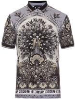 Dolce & Gabbana Peacock-print Cotton-piqué Polo Shirt