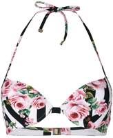 Dolce & Gabbana striped rose print bikini top