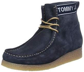 Tommy Jeans Hilfiger Denim Women's Wmn Crepe Outsole Suede Wallaby Ankle Boots, Blue (Ink 006)