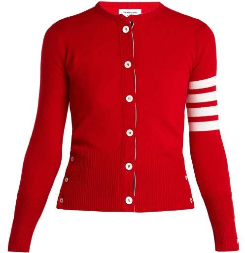 Thom Browne Round Neck Cashmere Cardigan - Womens - Red White