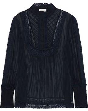 Zimmermann Lace-trimmed Pleated Silk-chiffon Blouse