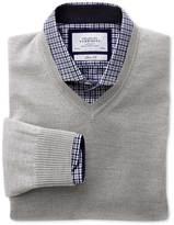 Charles Tyrwhitt Silver merino wool v-neck sweater