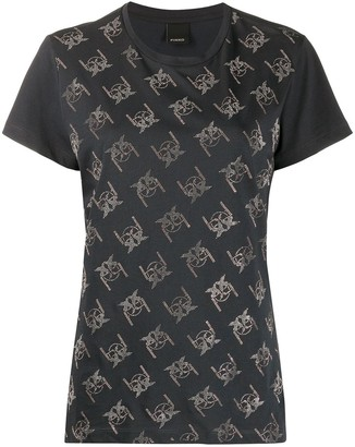 Pinko embellished repeat logo T-shirt