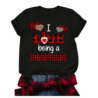 Jiegorge Women's Blouse Plus Size Short Sleeve 3D Love Printed O-Neck Tops Tee T-Shirt Blouse