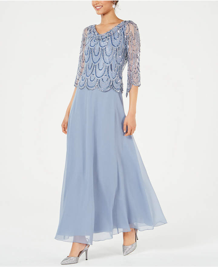 Cowlneck Beaded Gown