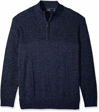 Izod Men's Big Newport Marled Quarter Zip 7 Gauge Textured Sweater
