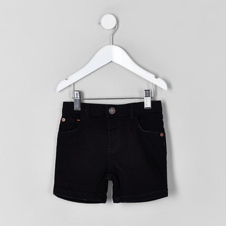 River Island Mini boys black Dylan denim shorts