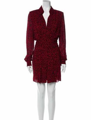 Saint Laurent Animal Print Mini Dress Red