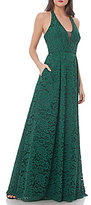 JS Collections Corded Floral Lace Halter Gown
