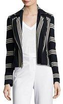 Veronica Beard Bailey Striped Cotton Moto Jacket, Navy/White