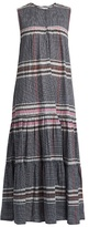 Apiece Apart Fuentes Tiers checked cotton maxi dress