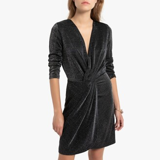 Naf Naf Metallic Short Wrapover Dress with 3/4 Length Sleeves