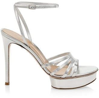 Gianvito Rossi Angelica Metallic Leather Platform Sandals