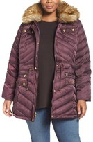 Laundry by Shelli Segal Plus Size Women's Quilted Parka With Faux Fur Trim