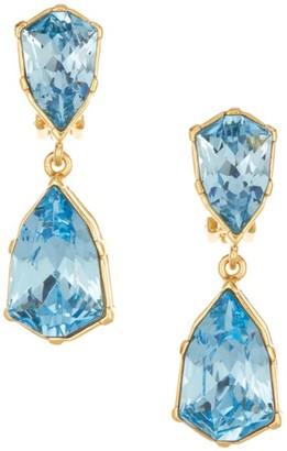 Oscar de la Renta Gallery-Set Crystal Double-Drop Clip-On Earrings