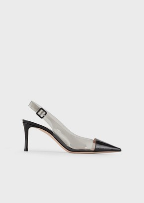 Giorgio Armani Vinyl Slingbacks With Contrasting Patent-Leather Inserts