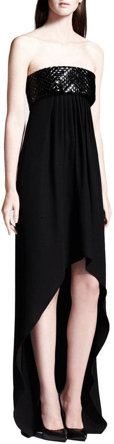 Saint Laurent Strapless High-Low Dress