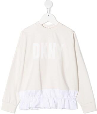 DKNY Ruffled Hem Logo Print Sweatshirt